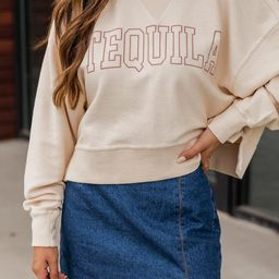 Tequila Block Cropped Corded Graphic Cream Sweatshirt | The Pink Lily Boutique