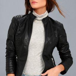 Heartlines Black Vegan Leather Moto Jacket | Lulus (US)
