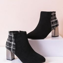 Point Toe Zipper Side Chunky Heeled Boots | SHEIN