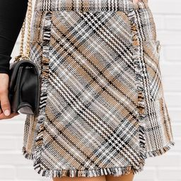 Blame Your Past Tan Fringe Plaid Skirt | The Pink Lily Boutique
