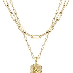 M MOOHAM Dainty Layered Initial Necklaces for Women, 14K Gold Plated Paperclip Chain Necklace Simple | Amazon (US)