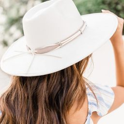 Excited For You Ivory Wide Brim Fedora Hat | The Pink Lily Boutique