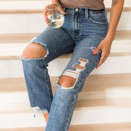 Kimmy Raw Hem Medium Wash Distressed Mom Jeans | The Pink Lily Boutique