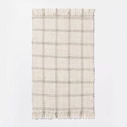 """2'1""""x3'2"""" Woven Indoor/Outdoor Rug with Fringe Linen - Threshold™ designed with Studio McGee 