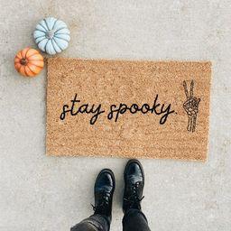 Stay Spooky Skeleton Peace Sign Doormat. Halloween Doormat. Bones welcome mat. Fall doormat. hous...   Etsy (US)