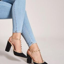 Spiked Decor Point Toe T-strap Chunky Heels | SHEIN
