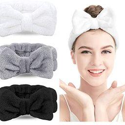 Spa Headband - 3 Pack Bow Hair Band Women Facial Makeup Head Band Soft Coral Fleece Head Wraps Fo...   Amazon (US)