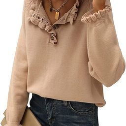 BTFBM Women's Sweaters Casual Long Sleeve Button Down Crew Neck Ruffle Knit Pullover Sweater Tops...   Amazon (US)
