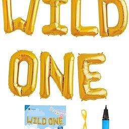 16 INCH WILD ONE Kids First Birthday Balloons, Wild One Birthday Decoration Kit Wild One Foil Let... | Amazon (US)