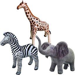 Jet Creations Safari 3 Pack Giraffe Zebra Elephant Great for Pool, Party Decoration, an-GZE, Mult... | Amazon (US)
