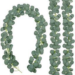 CEWOR 3 Packs Artificial Eucalyptus Garland Greenery Silk Eucalyptus Leaves Vines Faux Silver Dol... | Amazon (US)