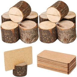 Toncoo Wood Place Card Holders, 10Pcs Premium Rustic Table Number Holders and 20Pcs Kraft Table P... | Amazon (US)