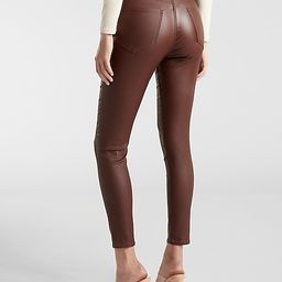 High Waisted Brown Coated Skinny Jeans | Express