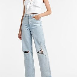 Super High Waisted Ripped 90s Wide Leg Jeans | Express