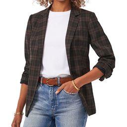 Notch Collar Long Sleeve Menswear Black Plaid Blazer   Dillards