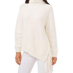 Asymmetrical Fringe Hem Turtleneck Statement Sweater   Dillards