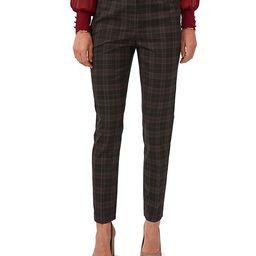 Plaid Flat Front Woven Skinny Leg Mid-Rise Pants | Dillards