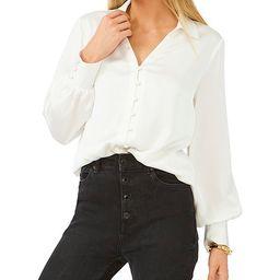 Long Sleeve Button Front Collar Satin Blouse   Dillards