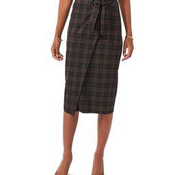 Midi Wrap Front High Rise Plaid Pencil Skirt | Dillards