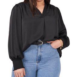 Plus Size Long Sleeve Smocked Cuff V-Neck Rumple Blouse | Dillards