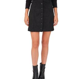 Stretch Faux Suede Snap Front Mini Skirt   Dillards