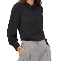 Long Sleeve Georgette Point Collared Button-Down Shirt | Dillards