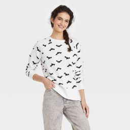 Women's Halloween Bat Graphic Sweatshirt - White | Target