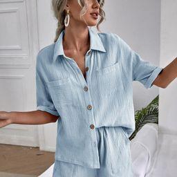 Drop Shoulder Dual Pocket Blouse & Shorts   SHEIN
