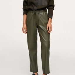 Leather-effect elastic waist trousers -  Women   Mango USA   MANGO (US)