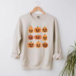 Pumpkin faces Shirt, cute Halloween Sweatshirt, women's Fall Sweatshirt, womens fall shirt, Jack-... | Etsy (US)