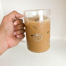 Pumpkin mug / clear glass mug / pumpkin beer can glass / pumpkin spice latte / pumpkin cold brew ...   Etsy (US)