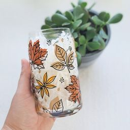 Fall Leaves Beer Can Glass, Glass Straw, Fall Colors, Glass Drinkware, Autumn Leaves, Iced Coffee...   Etsy (US)