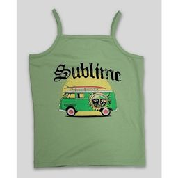 Women's Sublime Logo Cropped Graphic Tank Top - Green   Target