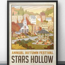 """Stars Hollow """"Autumn Festival"""" Travel Poster - Inspired by Gilmore Girls   Etsy (US)"""
