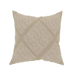 """Decorative Throw Pillow Cover, 20"""" x 20"""", Neutral Tan and Ivory, Printed Woven Texture Featur... 