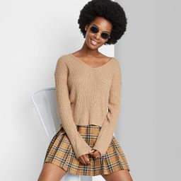 Women's V-Neck Rib Knit Pullover Sweater - Wild Fable™ Taupe Brown S | Target