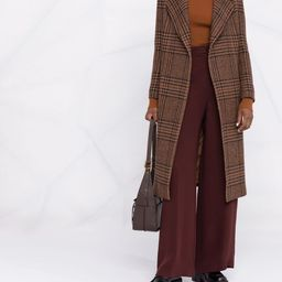 plaid belted mid-length coat   Farfetch (US)