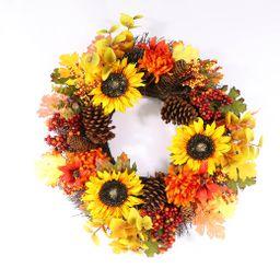 "Way to Celebrate Harvest Floral Wreath, 22"" D - Walmart.com | Walmart (US)"