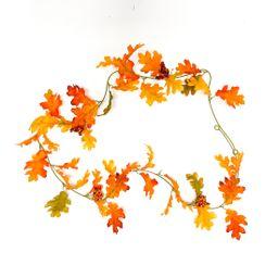 Way to Celebrate Harvest Artificial Orange Oak Leaf Decoration Garland, 6ft Long, Polyester - Wal... | Walmart (US)