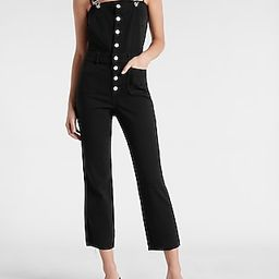 Black Button Front Straight Jean Overalls | Express