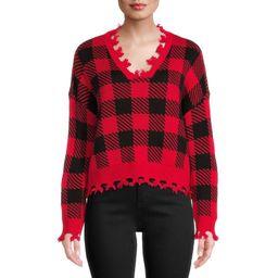 No Boundaries Juniors' Chewed Conversational Sweater | Walmart (US)