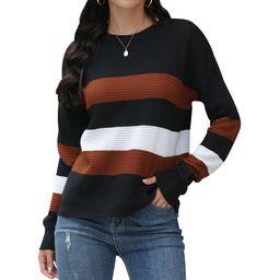 HUBERY Women Colorblock Stripe Crew Neck Long Sleeve Sweater | Walmart (US)