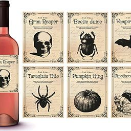 Vintage Halloween Decorations | 6 Wine Bottle Stickers | Scary Halloween Party Supplies and Decor... | Amazon (US)