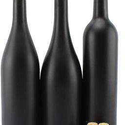Cornucopia Black Wine Bottles w/Corks (Set of 3); Black Matte Coated Glass Wine Bottles Various S... | Amazon (US)