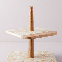 Marbled Acacia Tiered Platter | Anthropologie (US)