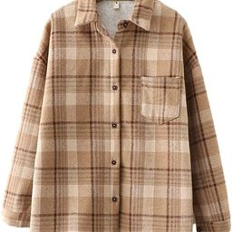 Shiyifa Women's Fleece Plaid Flannel Shirt Long Sleeve Sherpa Lined Button Down Tops Jacket   Amazon (US)