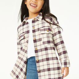 Free Assembly Girls Oversized Flannel Jacket, Sizes 4-18 - Walmart.com | Walmart (US)