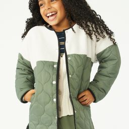 Free Assembly Girls Faux Sherpa Parka Jacket, Sizes 4-18 - Walmart.com | Walmart (US)