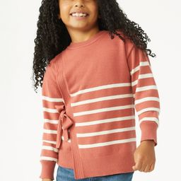 Free Assembly Girls Faux Wrap Sweater, Sizes 4-18 - Walmart.com | Walmart (US)
