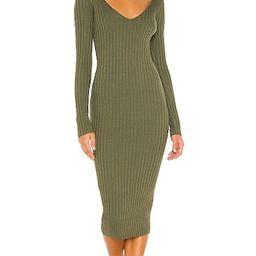 Bekah Deep V Midi Dress in Olive Green | Revolve Clothing (Global)